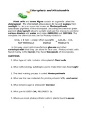 Chloroplasts and Mitochondria answers - Chloroplasts and ...