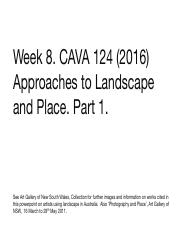 Week 8 (Part 1) Approaches to  Landscape and Place