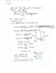Chapter 2.2 Notes- The Derivative Function