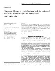 Hymers contribution to international business scholarship.pdf