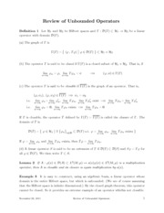 Math 511 - Unbounded Operators Review