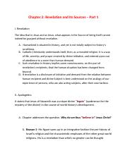 TH 499- Outline for Chapter 2