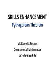SKILLS ENHANCEMENT Pythagorean Theorem and Special Right Triangles