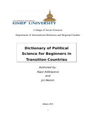 Dictionary of Political Science for Beginners (updated March 28 2013)