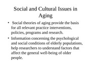 Social and Cultural Issues in Aging