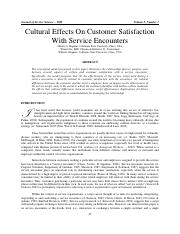 Cultural Effects On Customer Satisfaction With Service Encounters