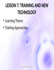 Lesson 7- Training and New Technology