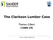 Class 6 slides - Clarkson Lumber with answers