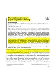 9.Physical exercise and physciological well being