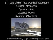 6 -Tools of the Trade - Optical Astronomy(2)