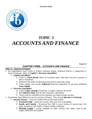 Topic 3 - Accounts and Finance