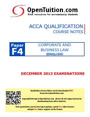 OpenTuition ACCA Paper F4Eng December 2013