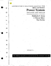 Power System Analysis and Design - Solution (Glover and Sarma)