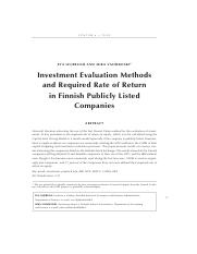 investment evaluation method