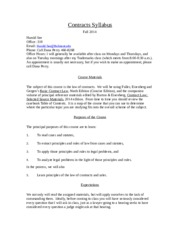Contracts Syllabus 2014