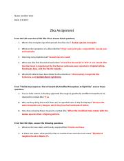 Zika Virus Assignment 2017