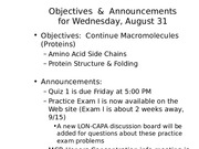 MCB 150 Macromolecules (Proteins) Lecture
