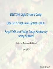 Hls Ppt Cpen 311 Digital Systems Design Slide Set 19 High Level Synthesis Forget Vhdl And Verilog Design Hardware By Writing Software 2016 2017 Term 1 Course Hero