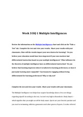 rev Week 3 DQ 1 Multiple Intelligences
