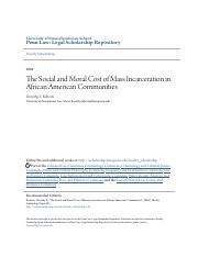 The Social and Moral Cost of Mass Incarceration in African Americ