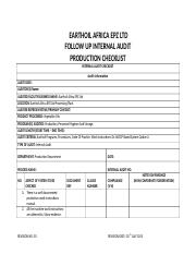 PRODUCTION FOLLOW UP INTERNAL AUDIT CHECKLIST.docx
