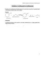 Oxidation of Cyclohexanol to Cyclohexanone