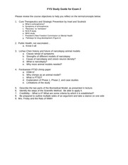FYS Study Guide for Exam 2 F2014