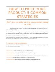 HOW TO PRICE YOUR PRODUCT 5 COMMON STRATEGIES.docx