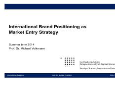 International Brand Positioning as Market Entry Strategy Part II