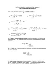 Concentration Expressions Answers