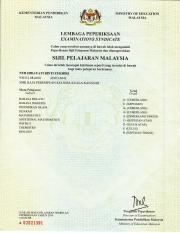 sijil spm pdf kementerian pendidikan malaysia ministry of education malaysia lembaga peperiksaan examinati ons synd i cate calon yang tersebut namanya course hero sijil spm pdf kementerian pendidikan
