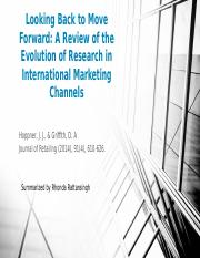 Looking Back to Move Forward_A Review of the Evolution of Research in International Marketing Channe