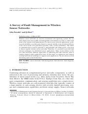 A Survey of Fault Management in WirelessaSensor Networks
