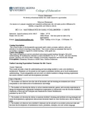 ECI 314 Early Childhood Mathematics Syllabus - Spring 2014
