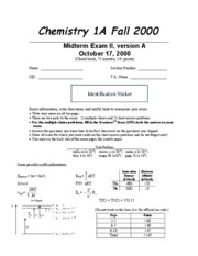 Chemistry 1A - Fall 2000 - Pines - Midterm 2