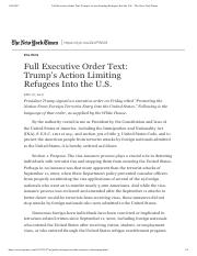 Full Executive Order Text- Trump's Acti...ees Into the U.S. - The New York Times