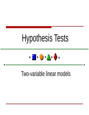 Hypothesis testing - 2 variable model