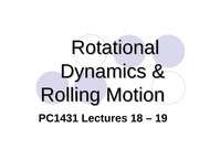 PC1431-2008-1-L18-19 Rotational Dynamics