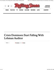 Crisis Dominoes Start Falling With Lehman Auditor _ Rolling Stone