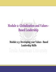 Module 2.3_Developing your Values - Based Leadership Skills