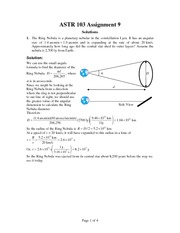 ASTR 103 Fall 2012 Assignment 9 Solutions