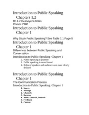 introduction to public speaking chapters 1 2 outline introduction