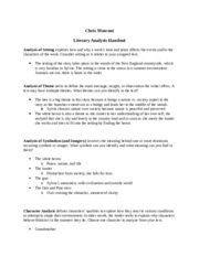 Literary Analysis handout 2.19.15