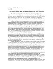 Sociology of Childhood and Adolescence - Final Paper