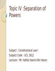 Topic 4 Separation of Powers