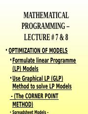 D S Lecture # 8 & 9 - Optimization of Linear Models.ppt