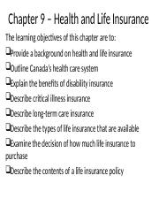 Chapter 9 - Health and Life Insurance