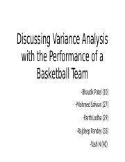 Discussing Variance Analysis with the Performance of a