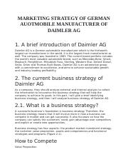 MARKETING STRATEGY OF GERMAN AUOTMOBILE MANUFACTURER OF DAIMLER AG.docx