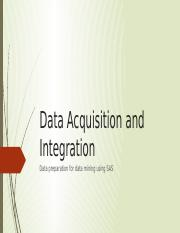 Data Acquisition and Integration